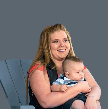 Headshot of Lacee Kay holding baby